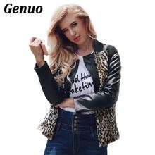 Autumn Winter Women Coat Leopard Print Faux Fur Patchwork PU Leather Jackets Long-Sleeve Short Slim Outwear Plus Size Genuo