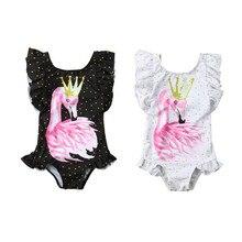 Swimsuit 2019 Toddler Kids Baby Girls Flamingo Printed Bikini Sleeveless Ruffles Swimwear Bathing Beach Holiday Bikinis