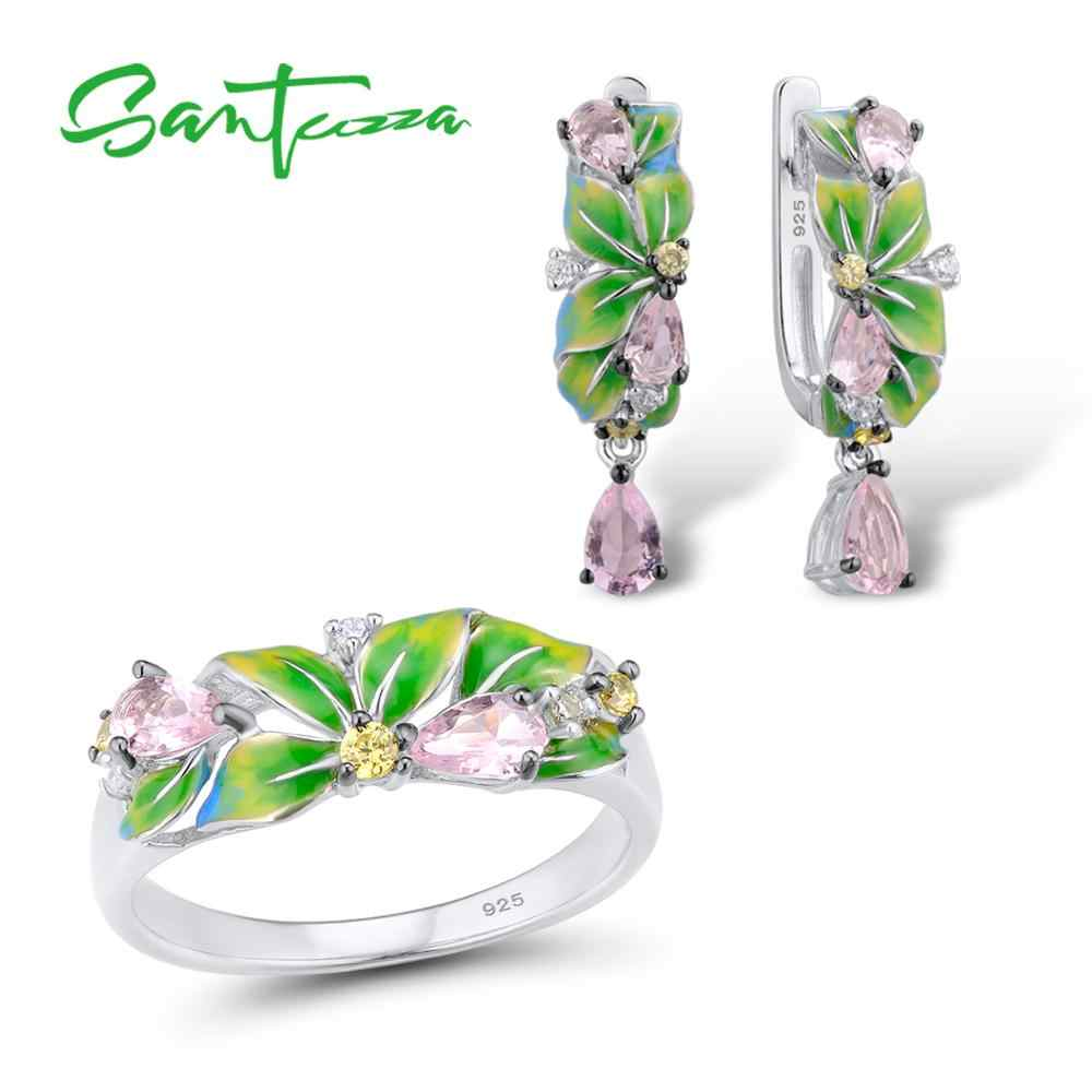 SANTUZZA Jewelry Set 925 Sterling Silver For Woman Elegant Green Leaves Ring Earrings Fashion Trendy Jewelry Set HANDMADE Enamel