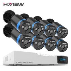 H. Ver sistema de cámara de seguridad 8ch CCTV Kit de vigilancia 8 piezas P 1080 p CCTV Cámara 2.0MP Equipo de Vigilancia de cámara al aire libre No HDD