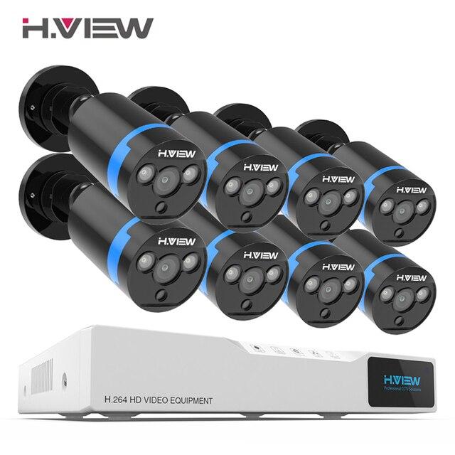 H. View система безопасности камеры 8ch комплект видеонаблюдения 8 шт. 1080 P CCTV камера 2.0MP уличная камера видеонаблюдения