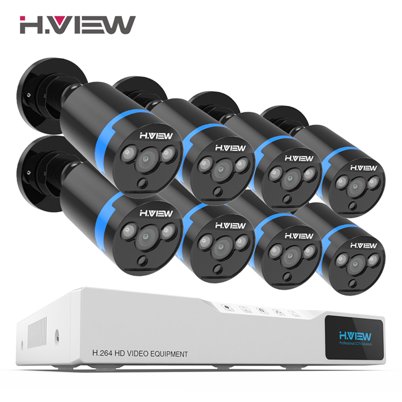 H. View система видеонаблюдения 8ch комплект видеонаблюдения 8 шт. 1080 P камера видеонаблюдения 2.0MP наружная камера комплект видеонаблюдения без ...