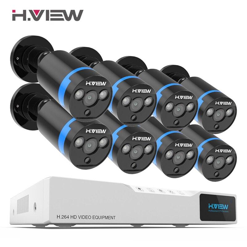 H. view sistema de câmera de segurança 8ch kit de vigilância de vídeo 8 pces 1080 p cctv câmera 2.0mp ao ar livre de vigilância de vídeo rua