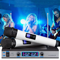 Dual UHF Wireless Microphone System Receiver Professional Cordless Handheld Mic Kareoke KTV Home Party Stage Speakers