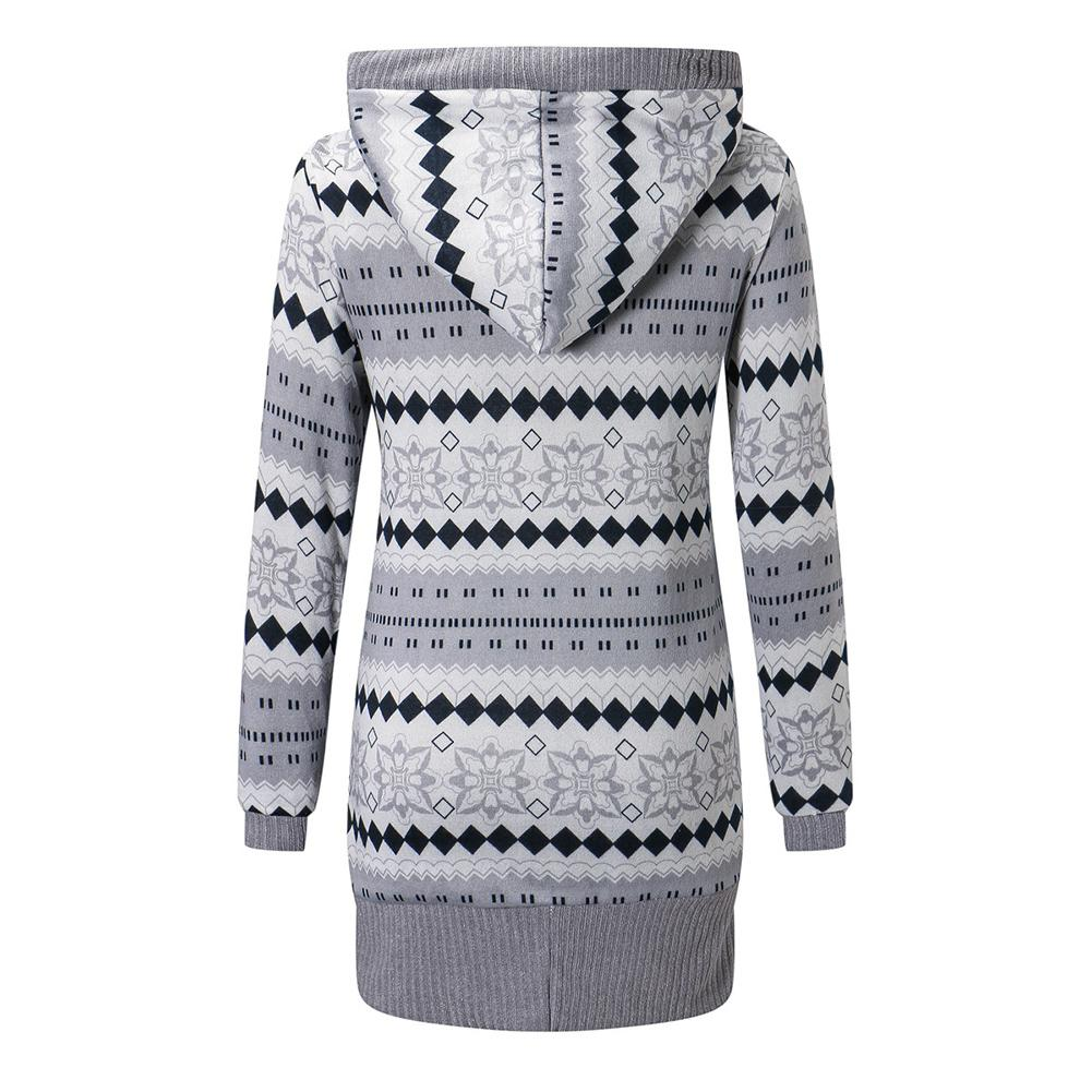 2019 Women Winter Coat Casual Printing Wool Stylish Knitted Coat Hooded Long Sleeve Thickening Cotton Jacket Women Outwear Parks 1