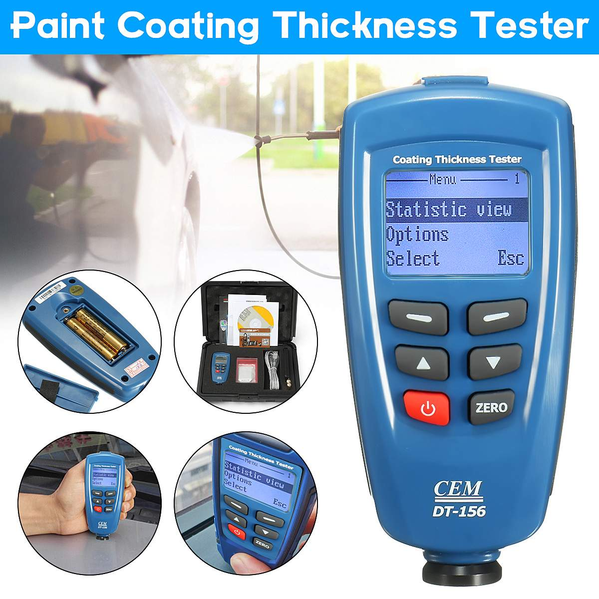 Digital CEM DT-156 Paint Coating Thickness Gauge Meter Tester 0~1250um with Built-in Auto F & NF Probe + USB Cable + CD softwareDigital CEM DT-156 Paint Coating Thickness Gauge Meter Tester 0~1250um with Built-in Auto F & NF Probe + USB Cable + CD software