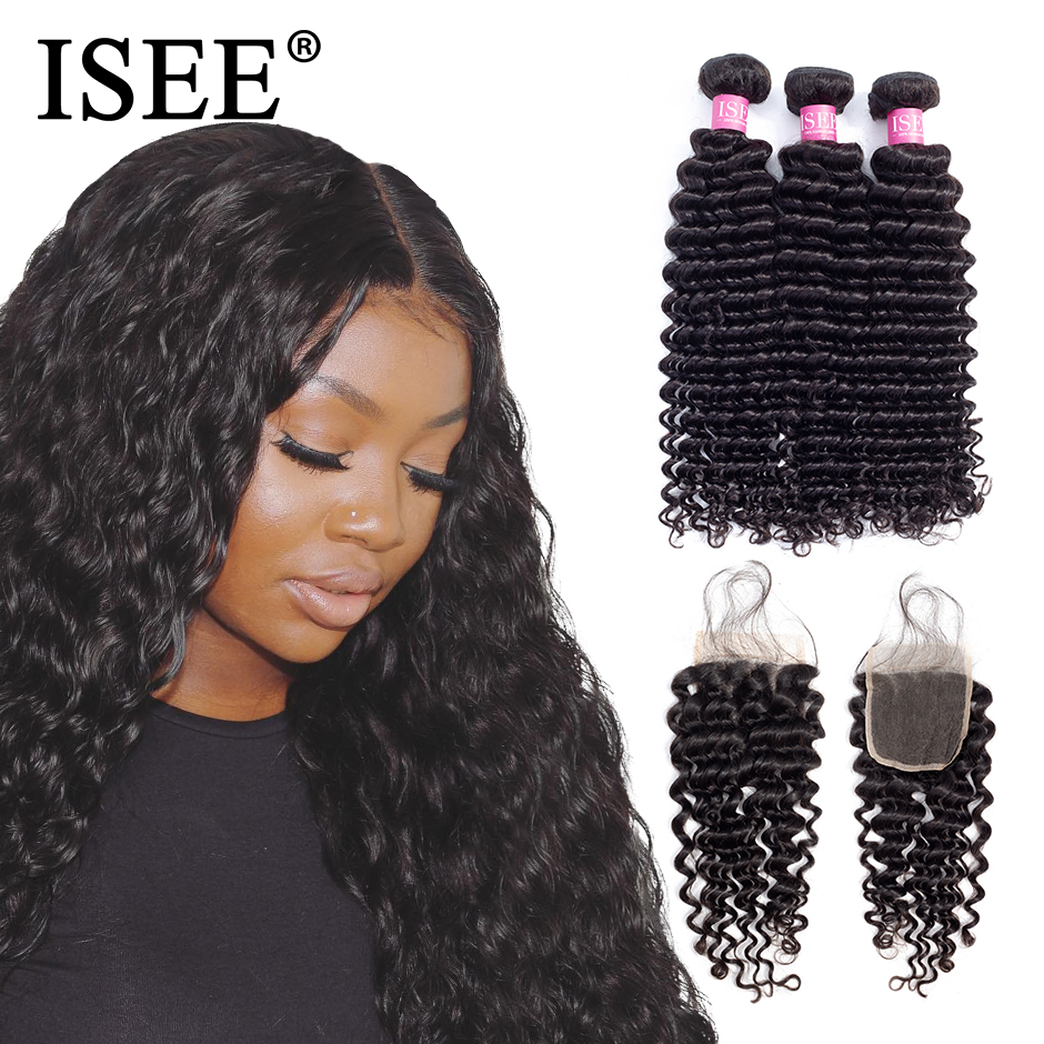 Image 2 - Deep Wave Bundles With Closure ISEE Hair With Closure Human Hair Bundles With Closure Brazilian Hair Weave Bundles With Closure-in 3/4 Bundles with Closure from Hair Extensions & Wigs