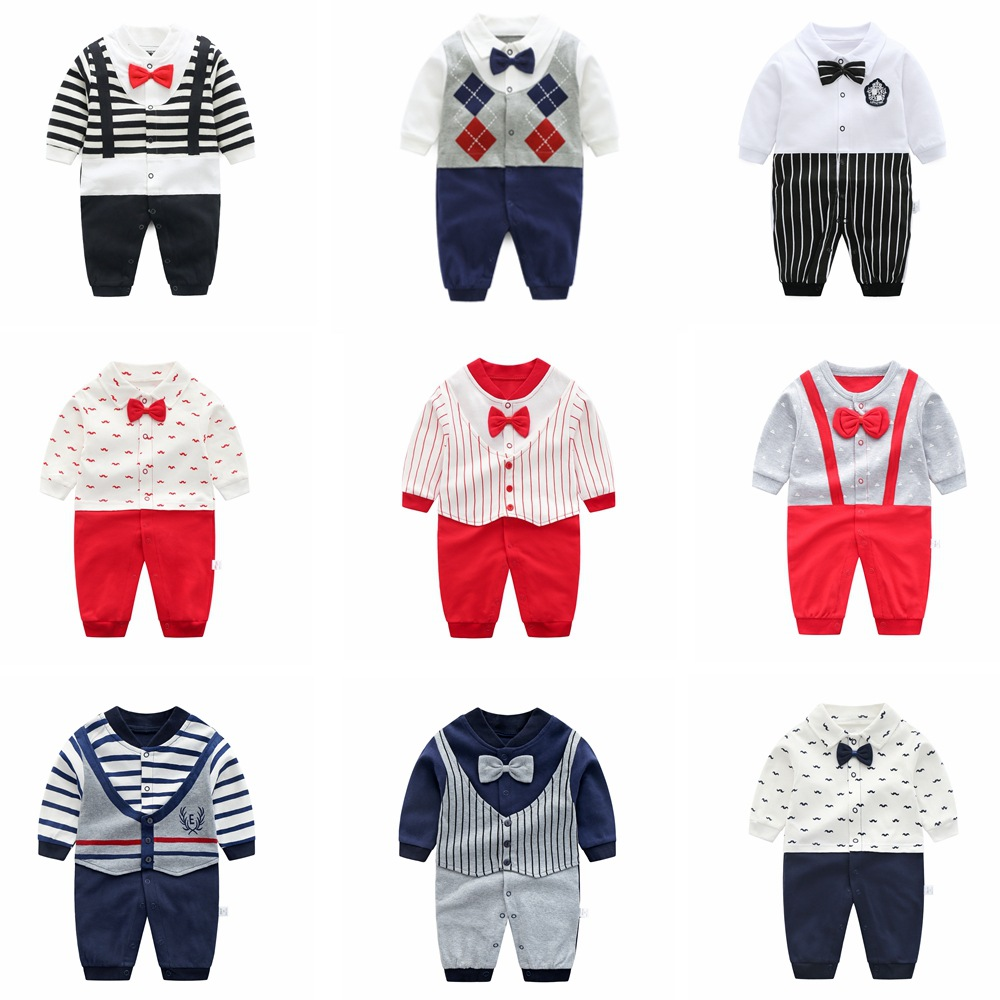 Baby   Rompers   Cottons Newborn Boys   Romper   Girls Clothes Print Infant Baby Clothing Long Sleeved Jumpsuit Neonatal Gentleman
