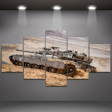 5 Panel Tank War Canvas Printed Painting For Living Room Wall Decor HD Picture Artworks Poster4