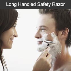 Длинная Безопасная бритва с двойным краем, Классическая мужская бритва, ручная борода, уход за волосами