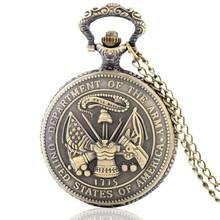 f6497eec612 United States Marine Corps USMC Veterano clássico Quartzo Relógio de Bolso  Homens Colar Com Gravar Coroa