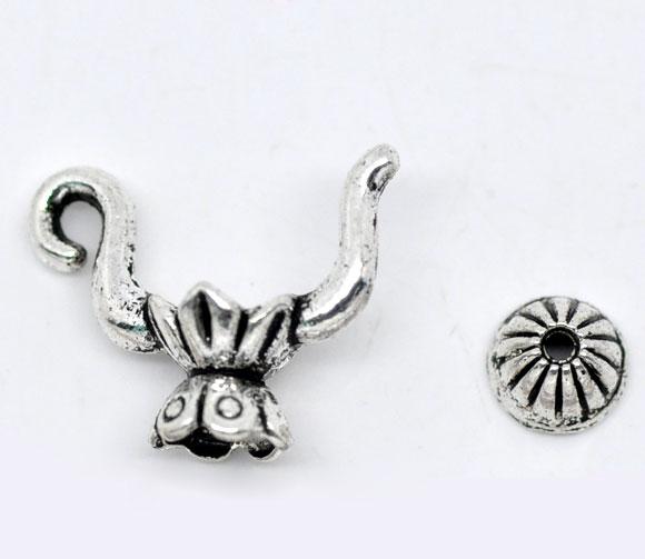 Lovely 10 Sets Silver Color Teapot Charm Bead Caps Set 19x15mm (B08764)