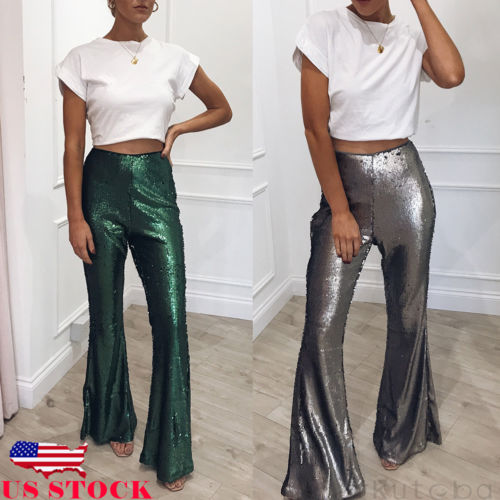 Women's Clothing Smart 2019 Fashion New Hot Women Sequin Boho Hippie High Waist Wide Leg Long Flared Bell Bottom Pants Curing Cough And Facilitating Expectoration And Relieving Hoarseness