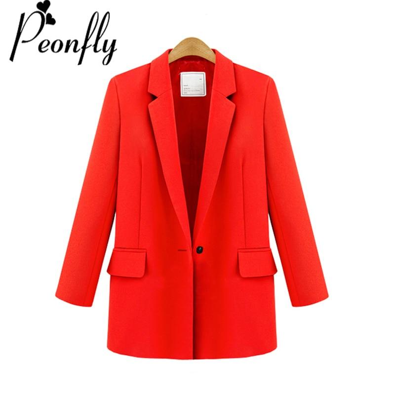 PEONFLY Women Blazer Jackets Plus Size 3Xl Elegant Temperament Solid Color Long Sleeve Suits Ladies Casual Loose Blazers Suit