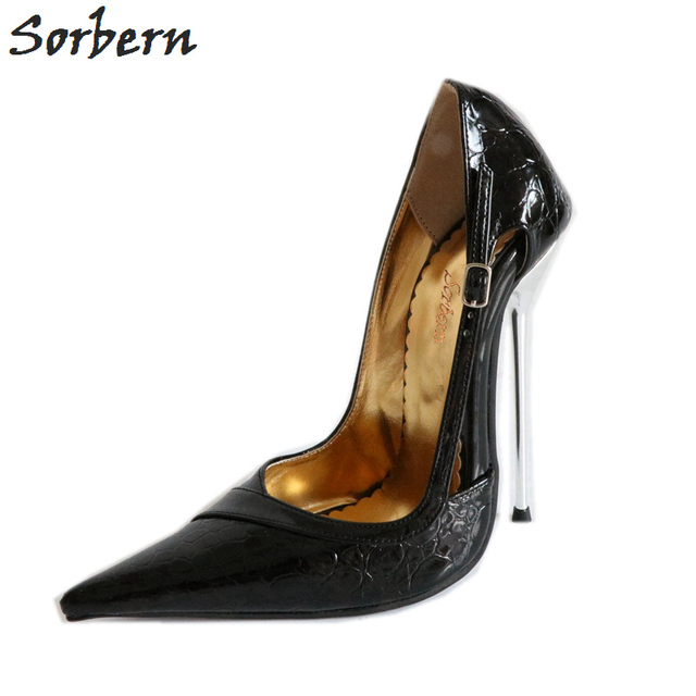 Sorbern 14Cm Silver Stilettos Pump Heels Women Transsexuals Pointed Toe Shoes Metal Heels Finos Tacones Altos Abiertos Delante