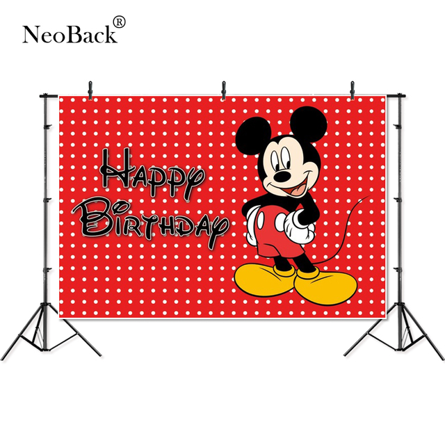 Thin Vinyl happy birthday party Mickey dots baby kids children Photography studio Backgrounds professional indoor Photo Backdrop