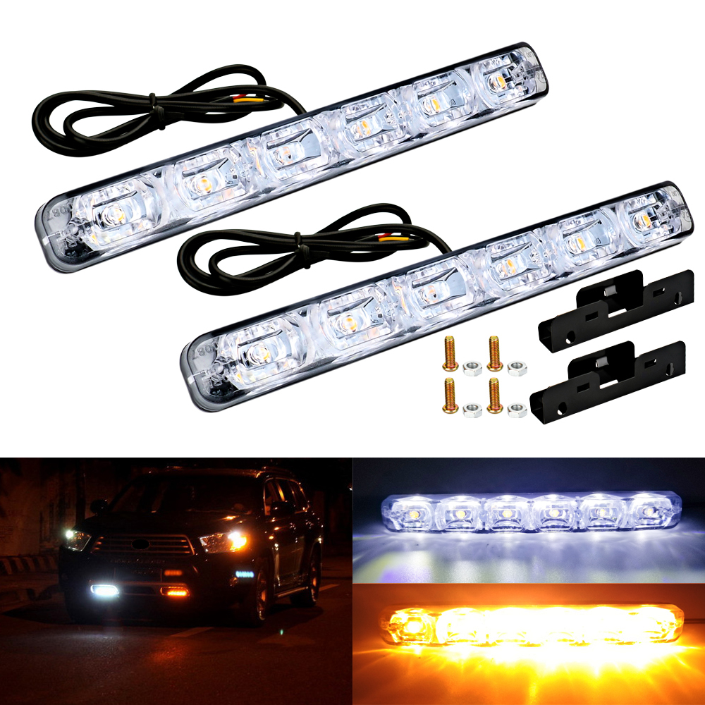 2Pcs Universal Sequential Flowing Daytime Running Light Turn Signal Lamp Waterproof LED DRL Kit Day Light Auto Driving Light in Signal Lamp from Automobiles Motorcycles