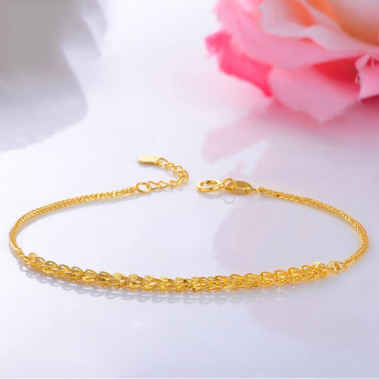 Solid 18K Yellow Gold Bracelet Feather With Wheat Link Bracelet 19.3cm Length