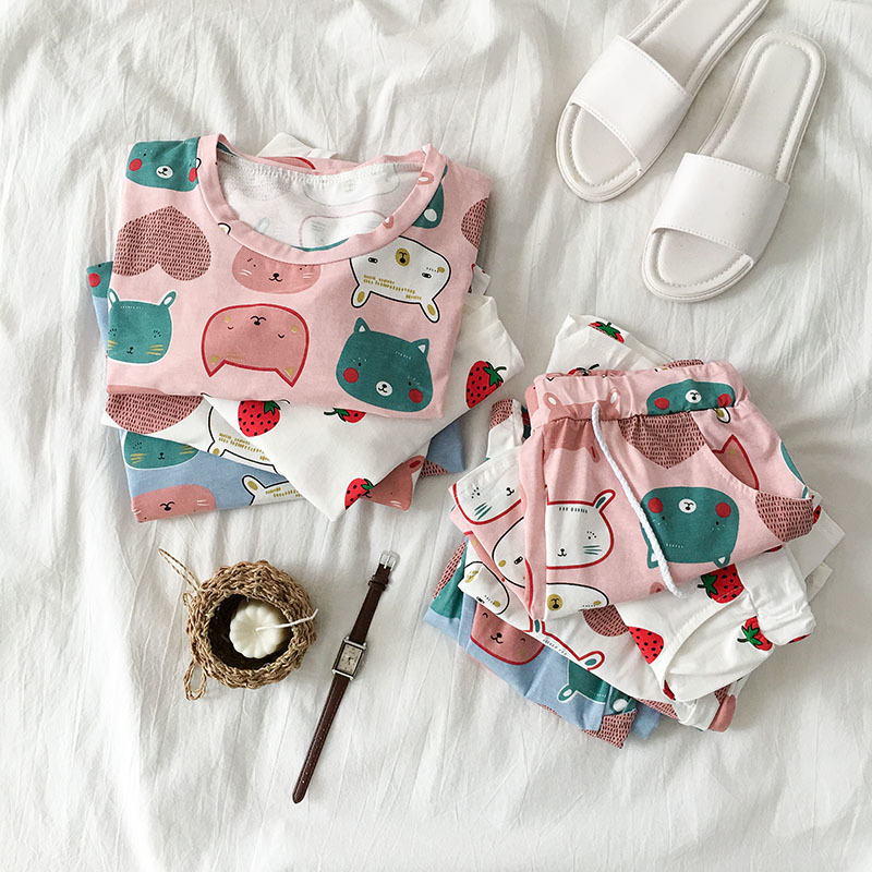 Cat Animal Printed Women   Pajamas     Set   T Shirt And Shorts 2 Piece   Set   Strawberry Home Suit