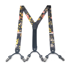 Chinese Rose Paisley Various Classic 6 Clips Silk Suspenders High Elastic Adjustable Belt Strap For Man Pants Braces Heavy Duty