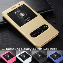 цена на For Samsung Galaxy A7 2018 case A750 cover Ultrathin PU leather PC hard case Stand flip cover for Samsung Galaxy A6 A9 2018 case