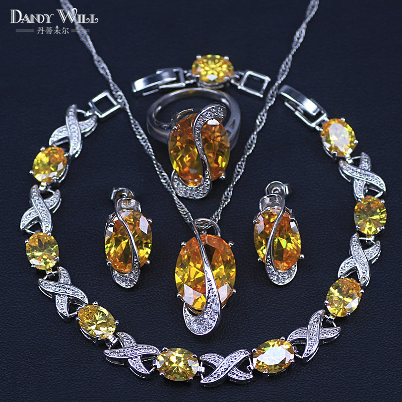 Sparkling Crystal Block Ring Chandelier: Big Oval Silver Color Jewelry Sets Sparkling Yellow