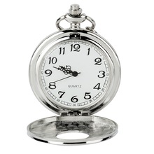 Fashion Vintage Pocket Watch Alloy Roman Number Dual Time Display Clock Necklace Chain Watches Birthday Gifts vintage women quartz pocket watch alloy openable blue flowers pattern lady sweater chain necklace pendant clock gifts ll