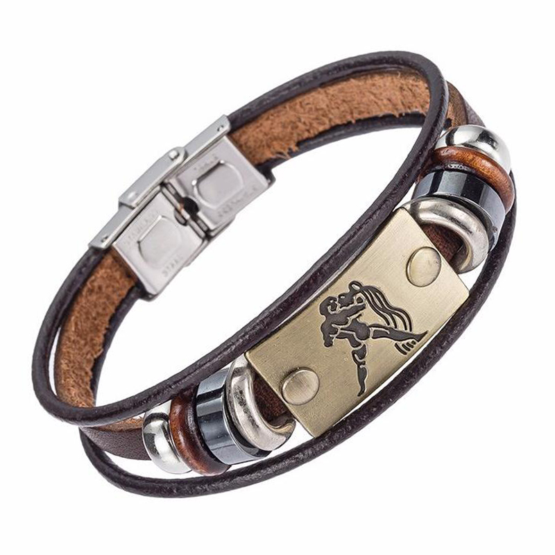 Drop Shipping Hot Selling Europe Fashion 12 zodiac signs Bracelet With Stainless Steel Clasp Leather Bracelet for Men XY17018