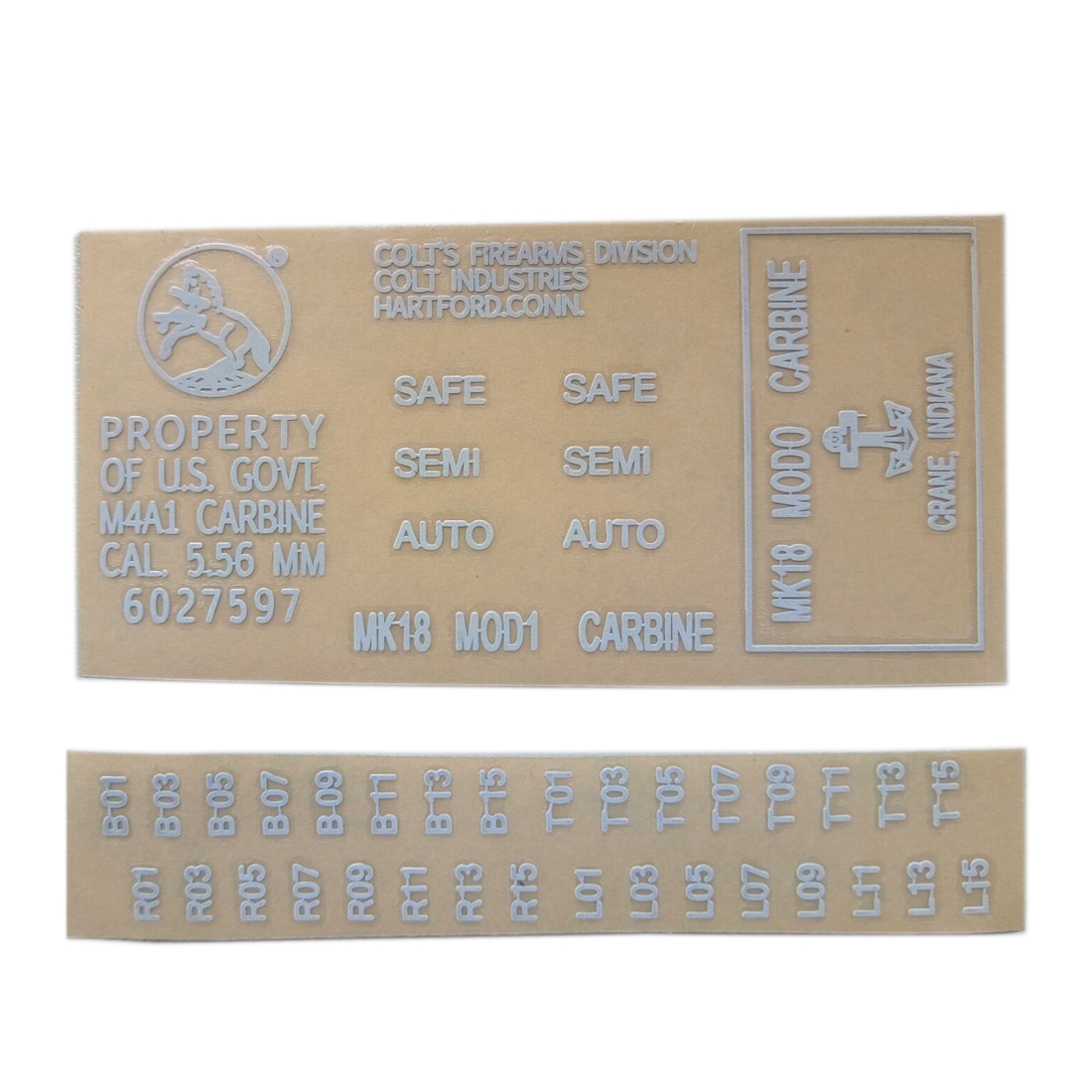 Metal Stickers for Gel Ball Blaster Cartridge Receiver M4 MK18 - White(China)