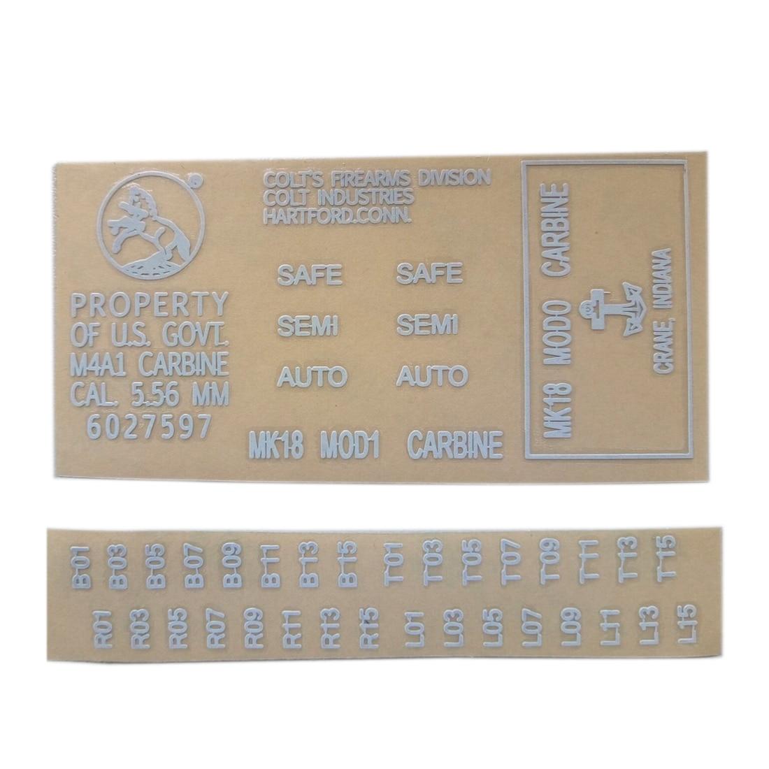 Metal Stickers For Gel Ball Blaster Cartridge Receiver M4 MK18 - White