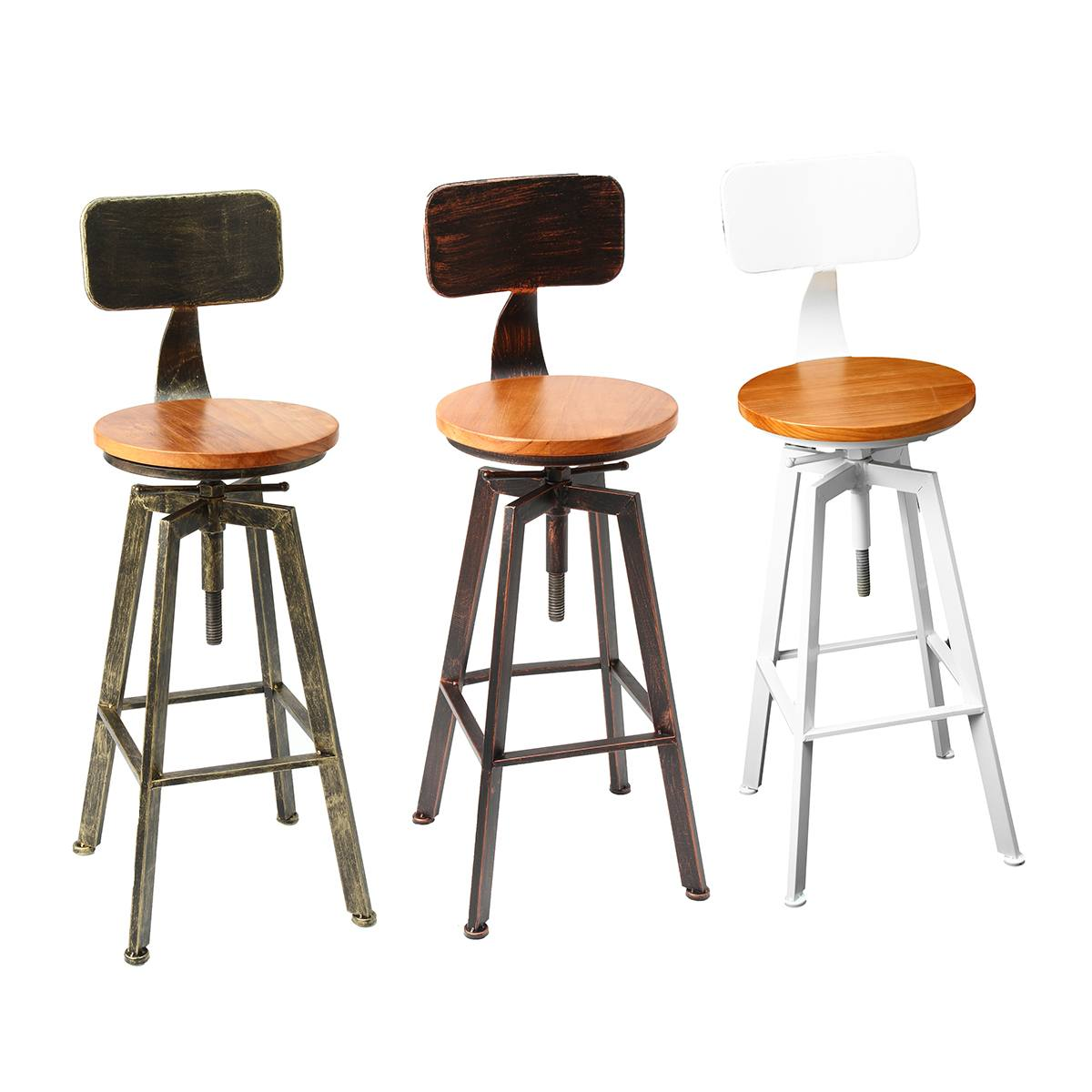 Industrial Wood Adjustable Seat Barstool High Chair: 3 Colors Retro Industrial Bar Chair Stool Adjustable Wood