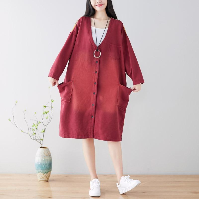 Oversize   Trench   Coat Women Patchwork Knitting Cowboy Long Outwear Loose Outwear Windbreaker Japanese Harajuku Printed Cardigans