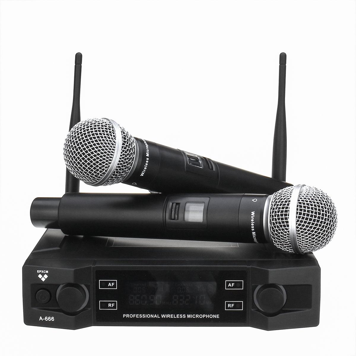 UHF беспроводной микрофон системы 2 канала 2 беспроводной ручной микрофон Kraoke речи вечерние вечеринок кардиоидный микрофон Professional
