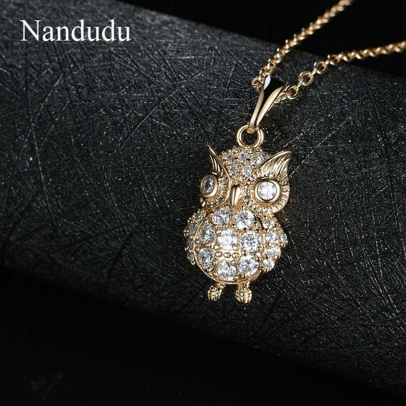 Nandudu Shinning AAA Cubic Zircon Owl จี้สร้อยคอแฟชั่นเครื่องประดับสำหรับหญิงสาวนกสร้อยคออุปกรณ์เสริมของขวัญ CN262