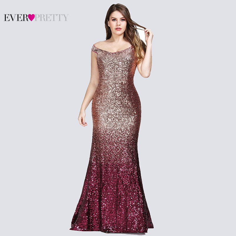 ceb2975ffc9 Plus Size 2019 Prom Dresses Long Ever Pretty EP08999 Sexy Mermaid Sequined  Sparkle Red Prom Gown
