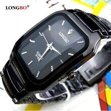 Мода, бренд Longbo, мужские, женские, для влюбленных, Clocsk, полностью черные, нержавеющая сталь, кварцевые наручные часы, складная застежка, подарок, часы под платье