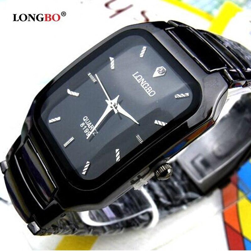 2018 de moda marca Longbo, hombre mujer amantes Clocsk negro completo de acero inoxidable reloj de pulsera de cuarzo de cierre regalo Relojes