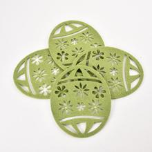 4PCS/PACK Easter Egg Coasters Pads Hot Coming Nonslip Heat Resistant Floral Lace Silicone Table Mat Cup Coaster Pan Placemat Pad calico pattern coaster 4pcs