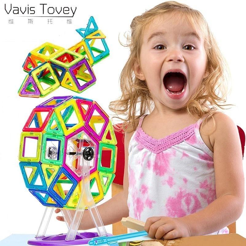 Vavis Tovey Creative Mini Magnetic Building Tiles Magnet Designer Construction Blocks Toddlers Best 3D Educational Toys