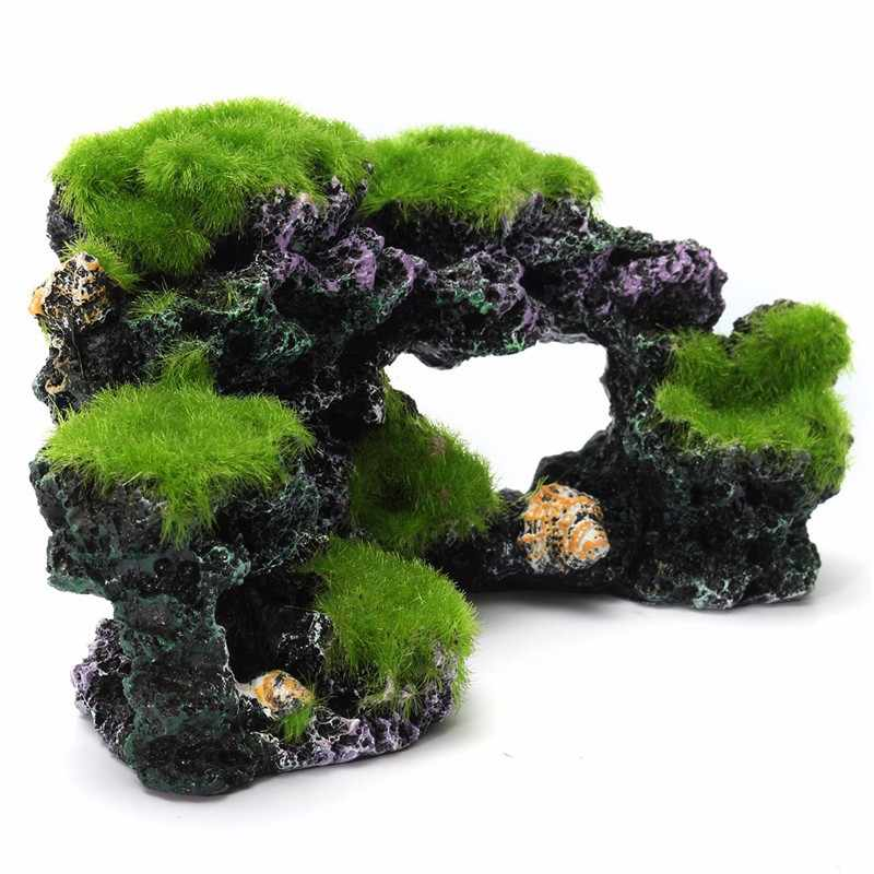 16x8.5x9cm Resin Fish Tank Cave Moss Bridge Decor Aquarium Rockery Mountain View Coral Reef Rock Landscape Underwater Ornament