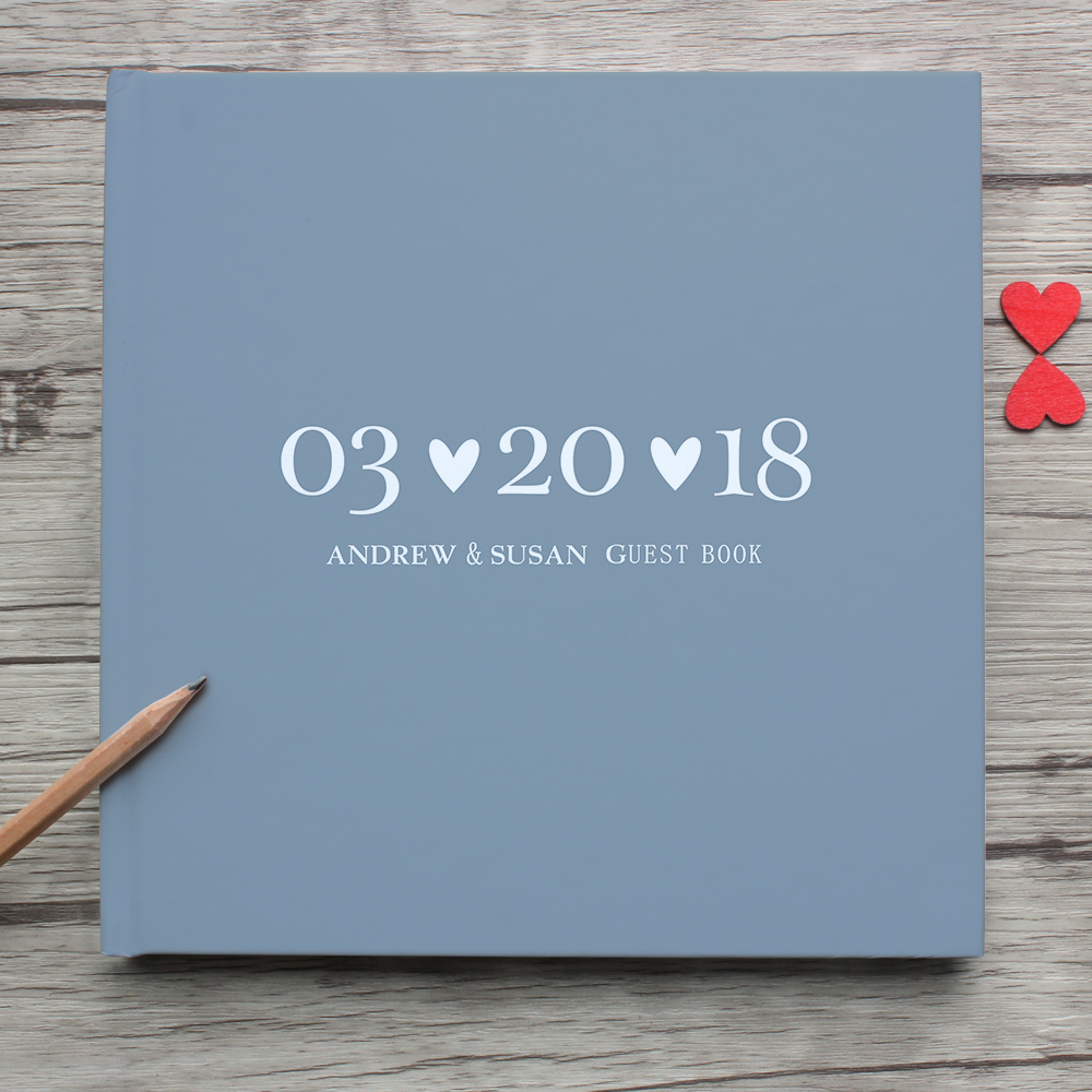 Custom Delicate Photo Album,Personalized White Wedding Guest Book Alternative,Unique Hardcover Instant Landscape Guestbook Sign