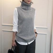 2018 Autumn Winter Women Cashmere Knitted Vests Side Turtleneck Sweater Vest Female Wool Sleeveless Loose Pullover