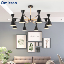 Omicron Led Pendant Lights Post-modern Iron Wood Power Saving Lamps Three Styles For Living Room Bedroom Home Decor