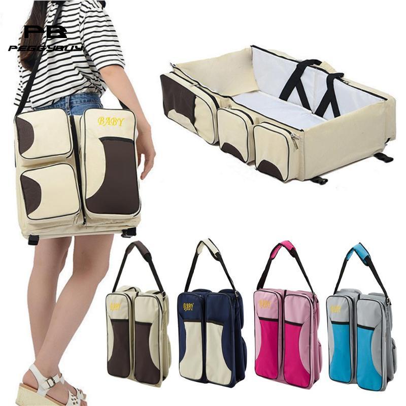 Multi function Travel Bed Cradle Cot For Newborns Changing Diapers Mummy Pack Bag Newborns Baby Crib Waterproof Shoulder Bags