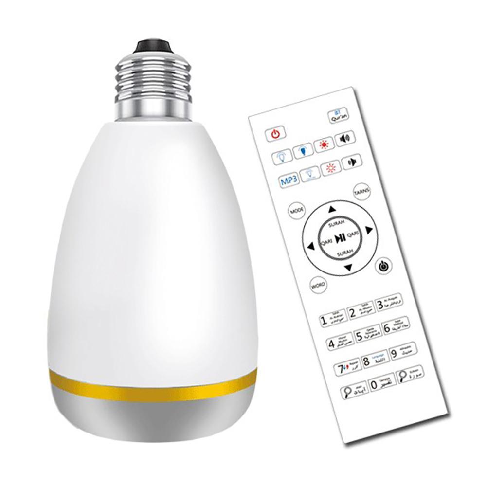 Musulmans LED ampoule Bluetooth haut-parleur équantu coloré ampoule lecteur de musique lumière LED dispositif de contrôle à distance pour récitation Noble coran