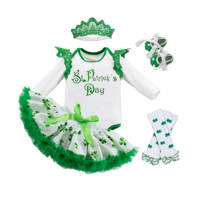 Fairy Baby Baby Girl St. Patricks Day Outfit Shamrocks Green Party Costume Dress Set,St Patrick's Day