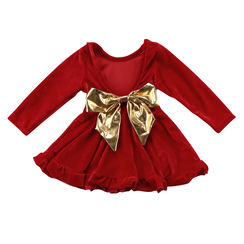 bd2a826b342 Baby Girls Red Velvet Dress Princess Big Bow Party Wedding Kids Dresses For  Girls Long Sleeve Christmas Toddler Winter Clothes