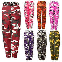 New Women Camo Cargo High Waist Hip Hop Trousers Pants Military Army Combat Camouflage Long Pants Hot Capris