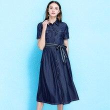 2019 summer women's fashion denim dress European lapel waist denim dress hipsters bow waist sashes drenim dress summer NW19B6103