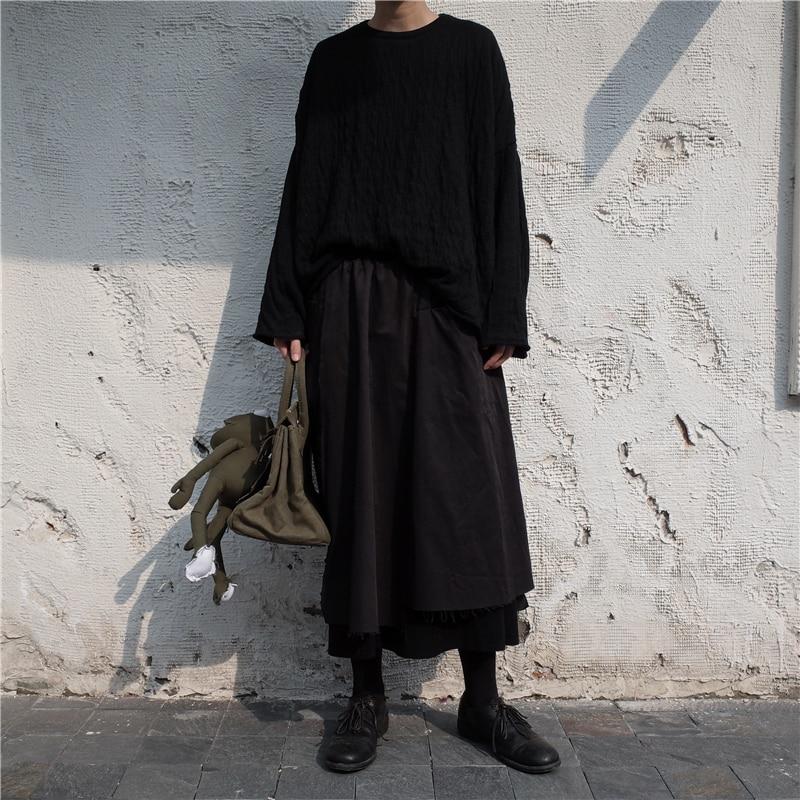 Supérieure E541 Spliced Femmes Jupe Printemps Nouveau Qualité Mode 2019 De Sauvage Noir Black Double Décontracté Lâche Couche Irrégulière SBaqgfdwa